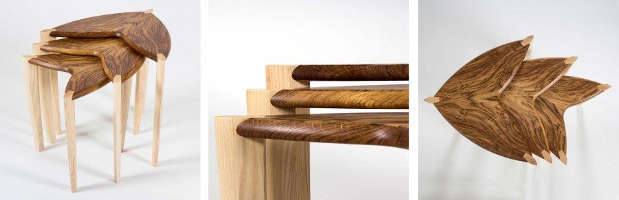 Contemporary Craft Exhibition: Three views of the Ed, Edd & Eddy nest of three sofa tables with tiger oak tops and ash legs.