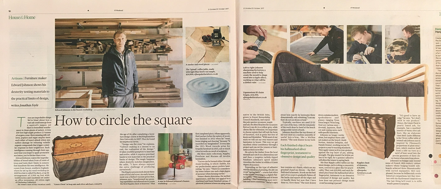 Double page spread of the article in the Financial Times written by Jonathan Foyle featuring Edward Johnson.