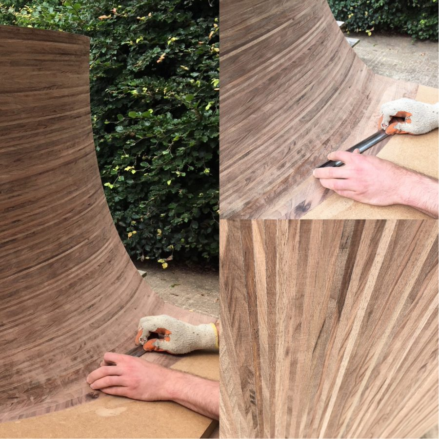 A composite of three images showing the sculptural leg of the Radiant desk being hand shaped and carved.