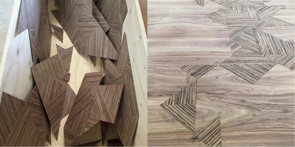 Triangular shaped veneers in the fuming box and then shown inlaid into the top of the Murano Cento dining table.