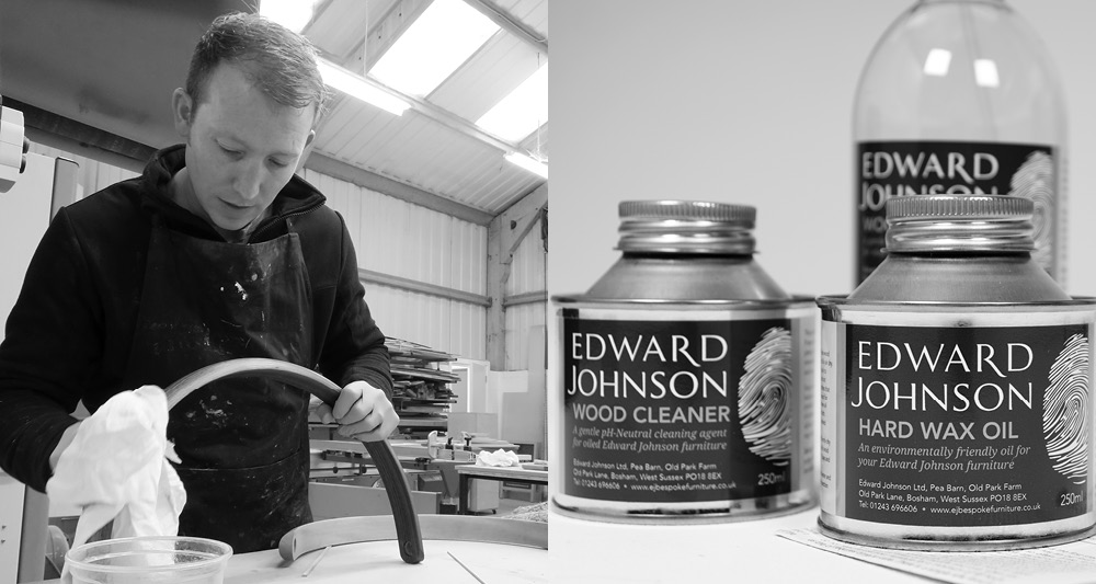 Edward Johnson in the workshop oiling furniture and a close up of the contents of our aftercare kit, containing oil and wood cleaner.