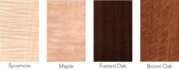 Wood samples of sycamore, maple, fumed oak and brown oak.