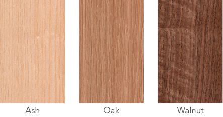 Wood samples of ash, oak and walnut.
