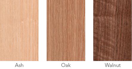 Wood samples of ash, oak and walnut.
