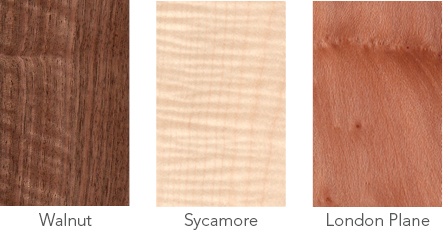 Wood samples in walnut, sycamore and London plane.