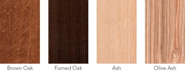 Wood samples of brown oak, fumed oak, ash and olive ash.