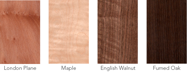 Wood samples of London plane, maple, English walnut and fumed oak.