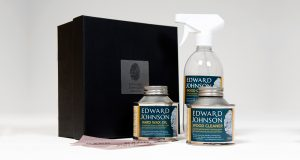 Image showing contents of our Edward Johnson aftercare kit, containing oil and wood cleaner.