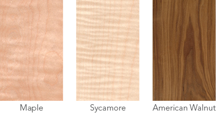 Wood samples of maple, sycamore and American walnut.