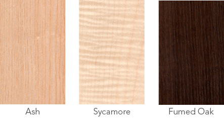 Wood samples of ash, sycamore and fumed oak.