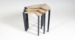 Nest of three 'Ed, Edd & Eddy' side tables shown in limed olive ash with ebonised oak legs.