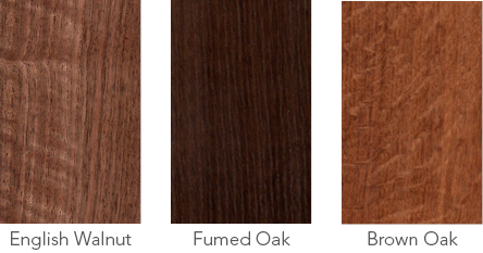 Wood samples of English walnut. fumed oak and brown oak.