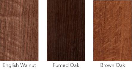 Wood samples of English walnut. fumed oak and brown oak.