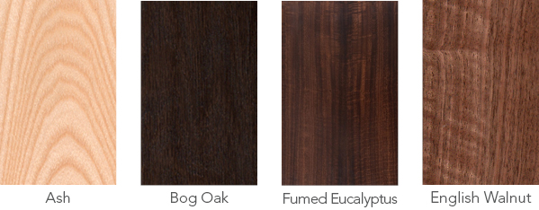 Wood samples of ash, bog oak, fumed eucalyptus and English walnut.