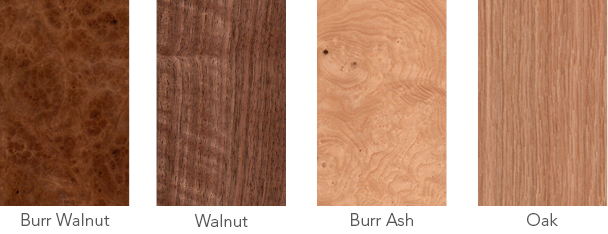 Wood samples of burr walnut, walnut, burr ash and oak.