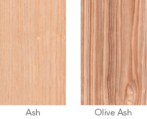 Wood samples of ash and olive ash.