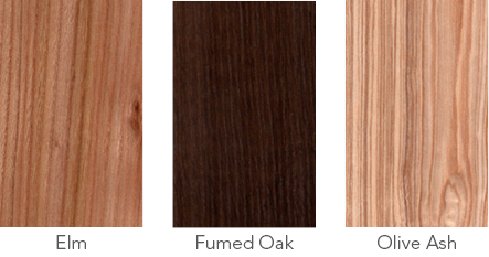 Wood samples of elm, fumed oak and olive ash.