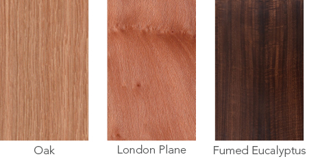 Wood samples of oak, London plane and fumed eucalyptus.