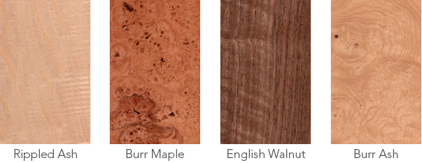 Wood samples of rippled ash, burr maple, English walnut and burr ash.