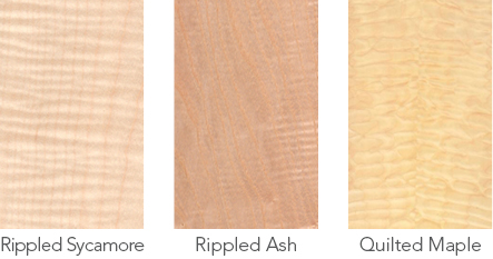 Wood samples of rippled sycamore, rippled ash and quilted maple.