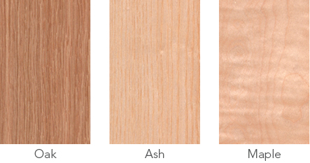 Wood samples of oak, ash and maple.