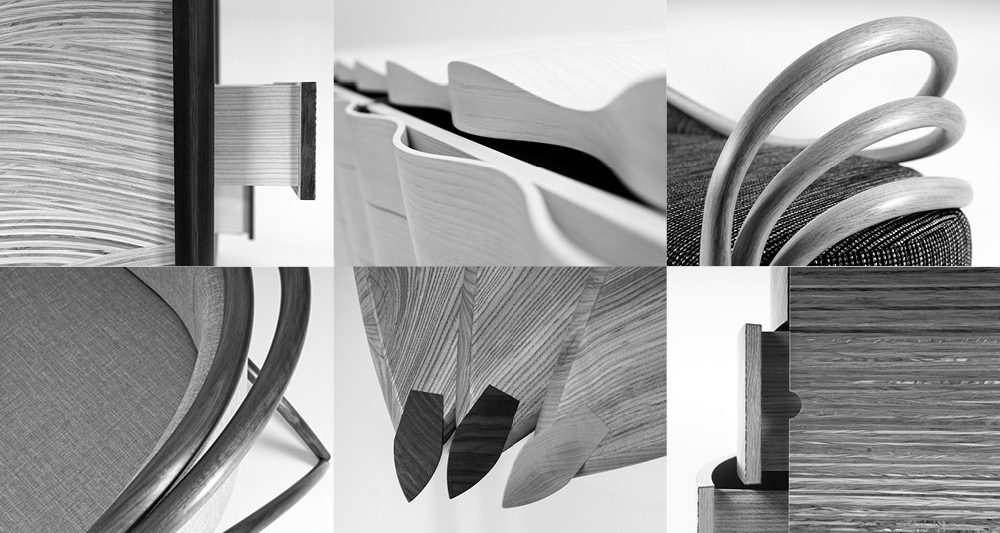 A collage of six close up details of our furniture showing what we do.