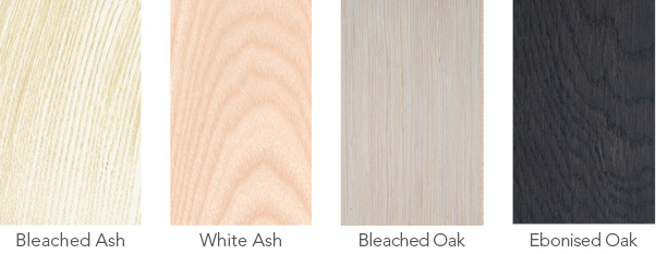 Wood samples in bleached ash, white ash, bleached oak and ebonised oak