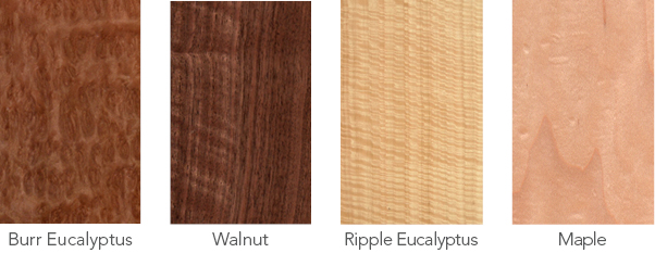 Wood samples in burr eucalyptus, walnut, rippled eucalyptus and maple