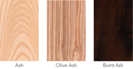 Wood samples of ash, olive ash and burnt ash.