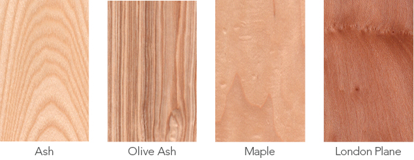 Wood samples in ash, olive ash, maple and London plane.
