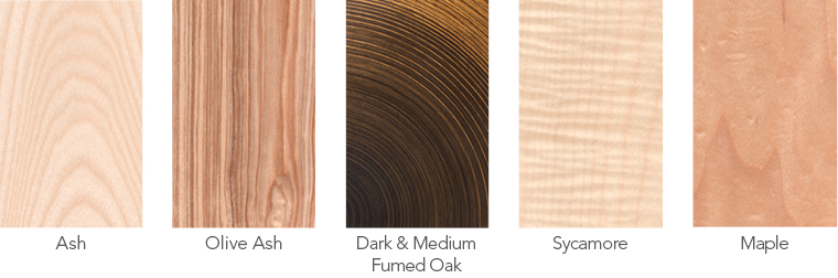 Wood samples of ash, olive ash, oak Murano veneer, sycamore and maple.