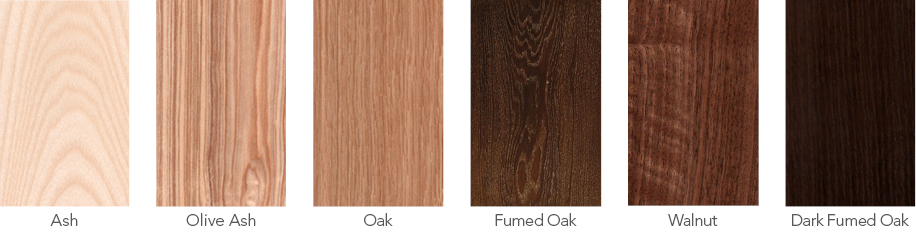 Wood samples of ash, olive ash, oak, fumed oak, walnut and dark fumed oak.