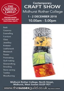 A flyer for The Sussex Guild contemporary craft exhibition
