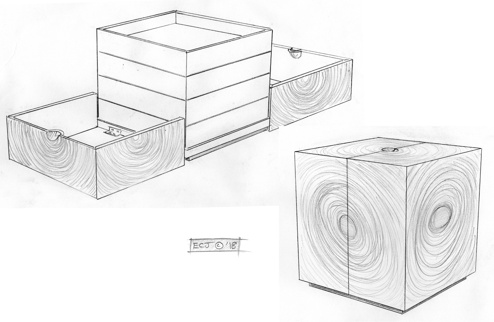 Two pencil drawings showing the Squaring the Circle jewellery box open and closed.