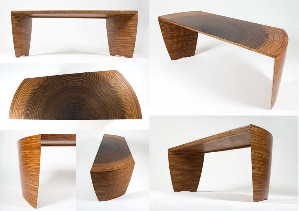 An composite image showing Edward Johnson's Radiant desk from 6 different angles.