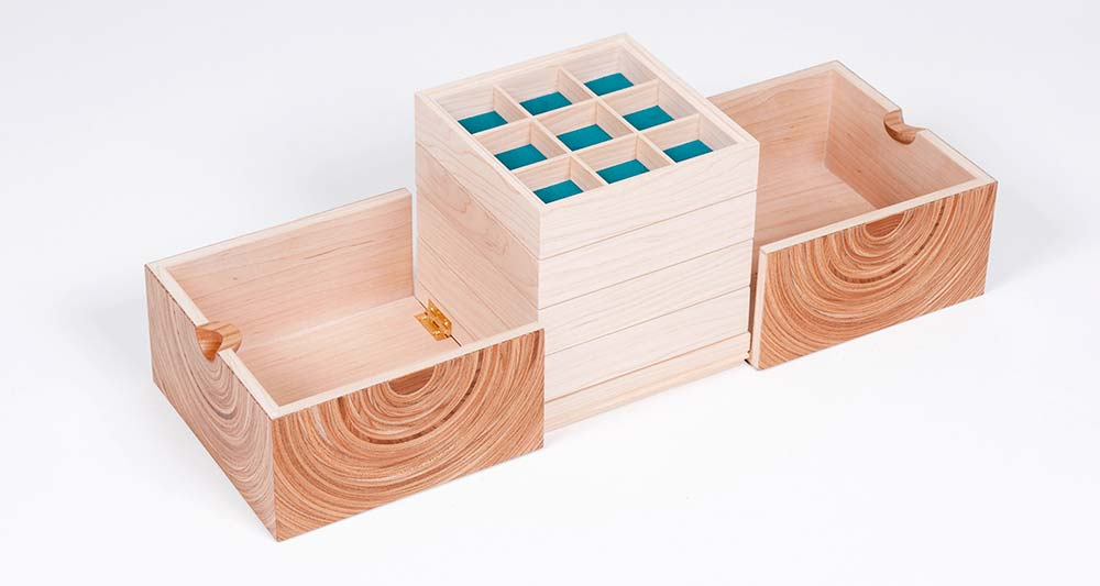 Squaring the Circle jewellery box shown open.