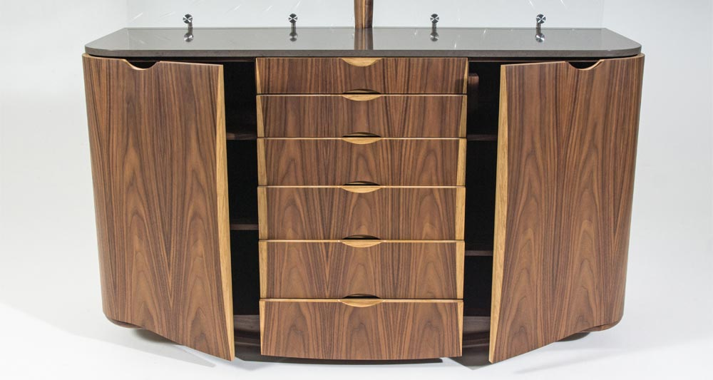 Front view of our Collaborate sideboard made with walnut, oak glass and stone.