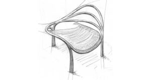 A blueprint pencil drawing of a proposed backless sculptural chair design.