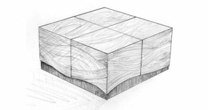 A blueprint pencil drawing of a proposed Chalara Coffee Table.