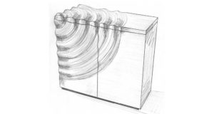 A blueprint pencil drawing of a proposed Ripples Credenza design.