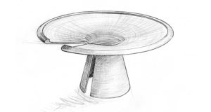A blueprint pencil drawing of the proposed Vortex Murano dining table design.