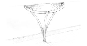 A blueprint pencil drawing of a proposed hall table, with a semi circular glass top.
