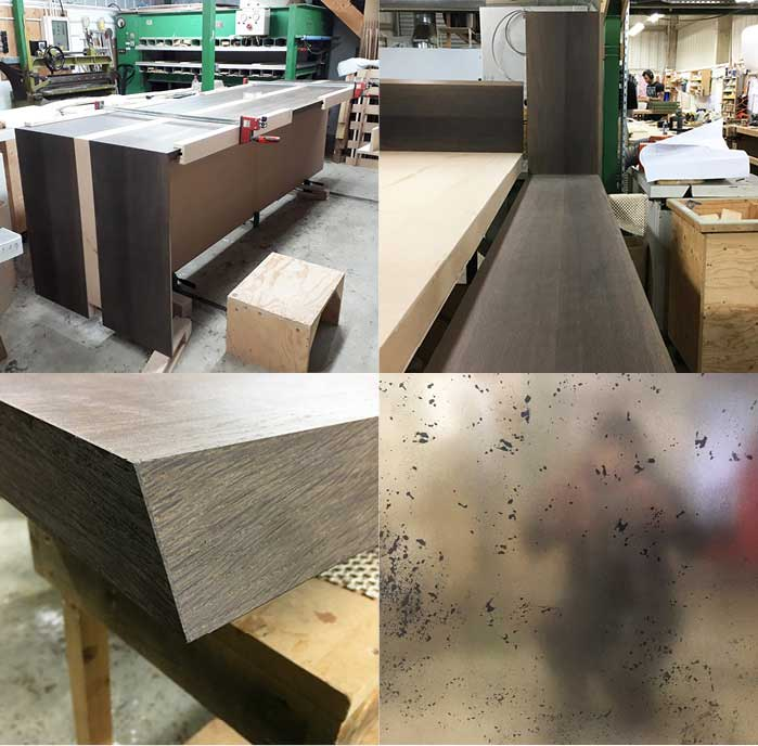 Four detail images of the showroom table under construction in the Edward Johnson workshop.
