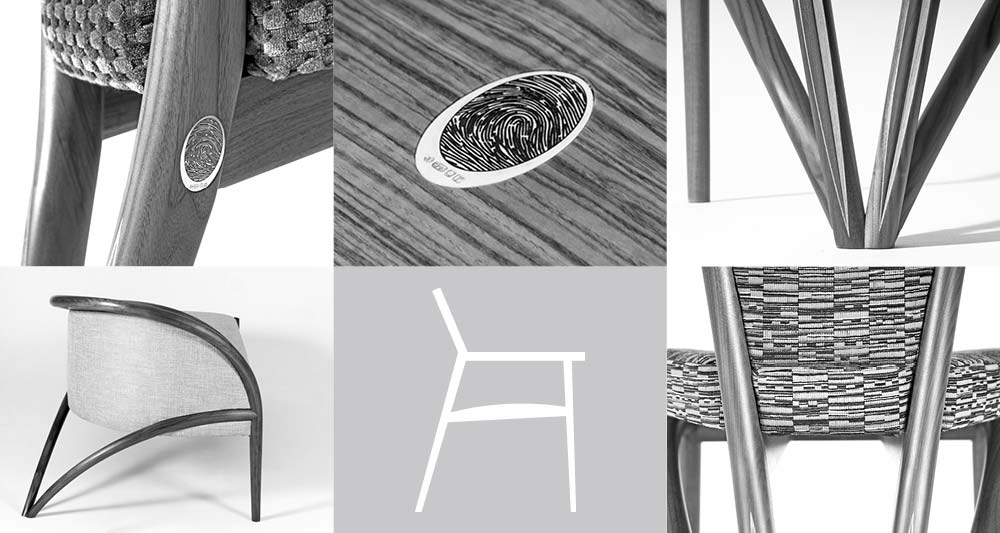 Collage of bespoke chair details and bespoke chair diagram.