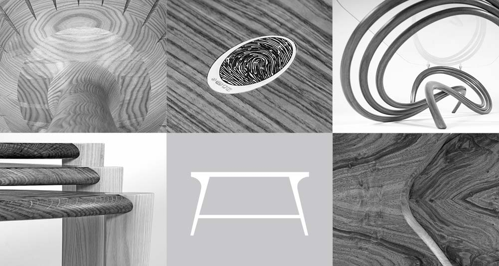 Collage of bespoke coffee and side table details and table diagram.