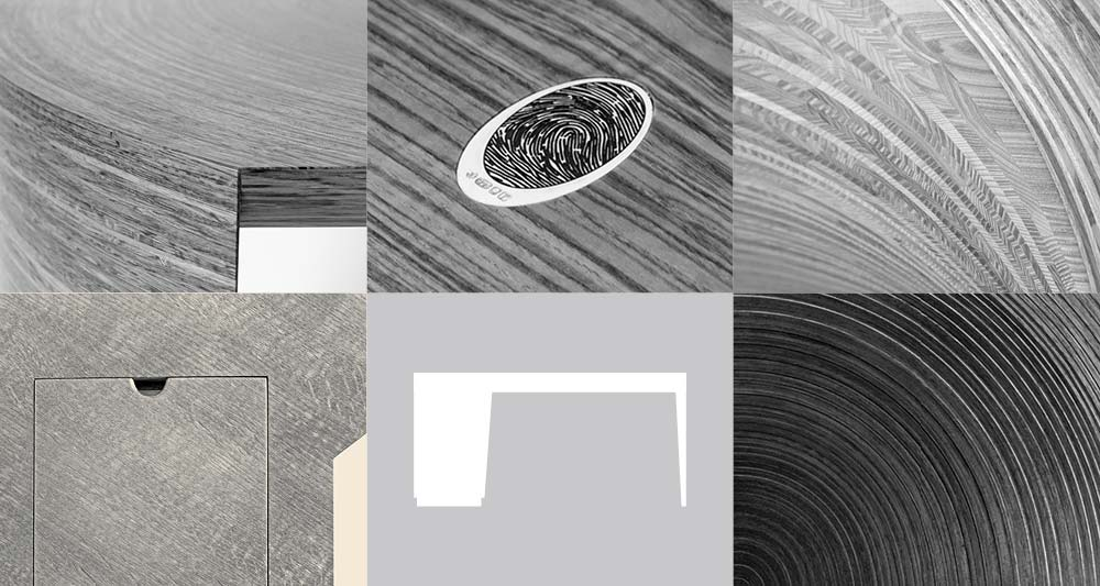 Collage of bespoke dining table details and bespoke dining table diagram.