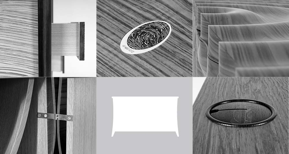 Collage of bespoke sideboard details and bespoke sideboard diagram.