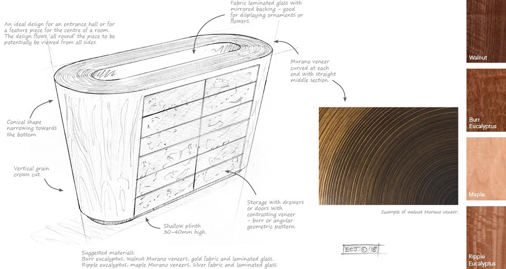 Drawing, notes and timber swatches for the Centrepiece sideboard design.