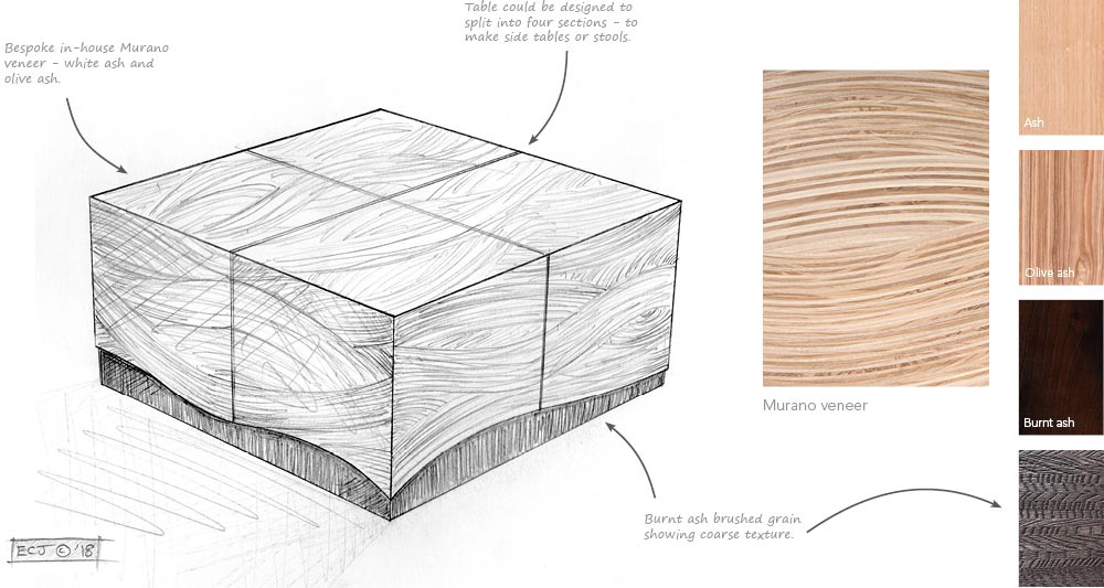 A drawing, notes and wood sample of the Chalara Murano coffee table design.