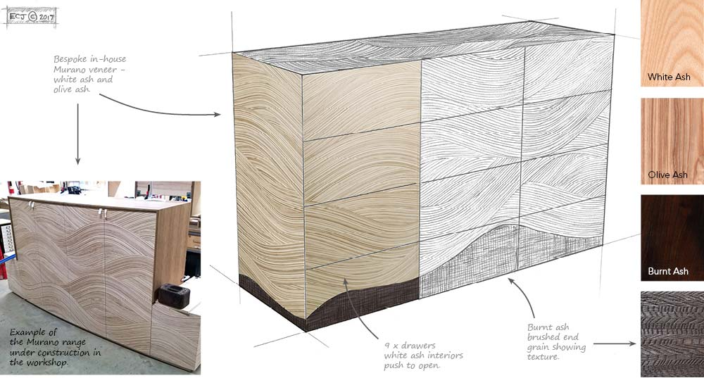 A blueprint design sheet of the proposed Chalara Murano cabinet design, including sketch and wood samples.